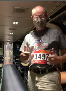 image of 5k runner on train